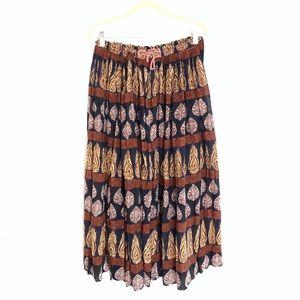 Dresses & Skirts - ☀️SALE Vintage batik blue & tan boho maxi skirt